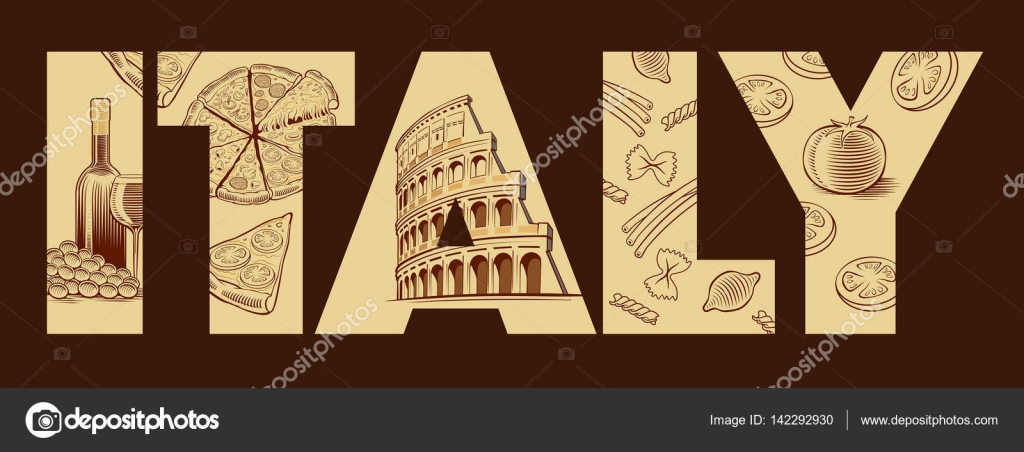 Italy flag with typical italian food meals pizza pasta for Pasta tipica italiana
