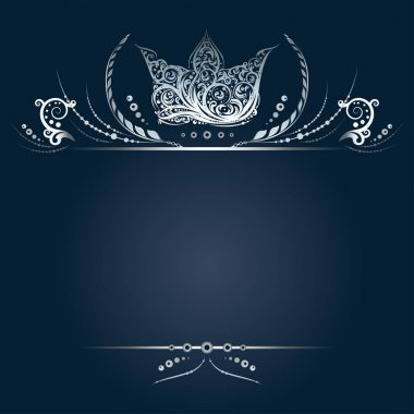 Vintage silver banner or greeting card with royal crown, laurel wreath and floral elements