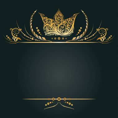 Vintage golden banner or greeting card with royal crown, laurel wreath and floral element