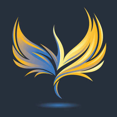 Stylized rising flying bird icon. Phoenix image