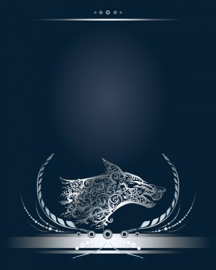 Vintage silver banner or greeting card with stylized wolf head profile.