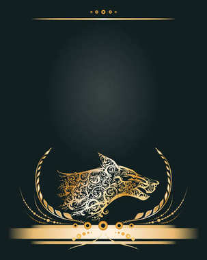 Vintage golden banner or greeting card with stylized wolf head profile.
