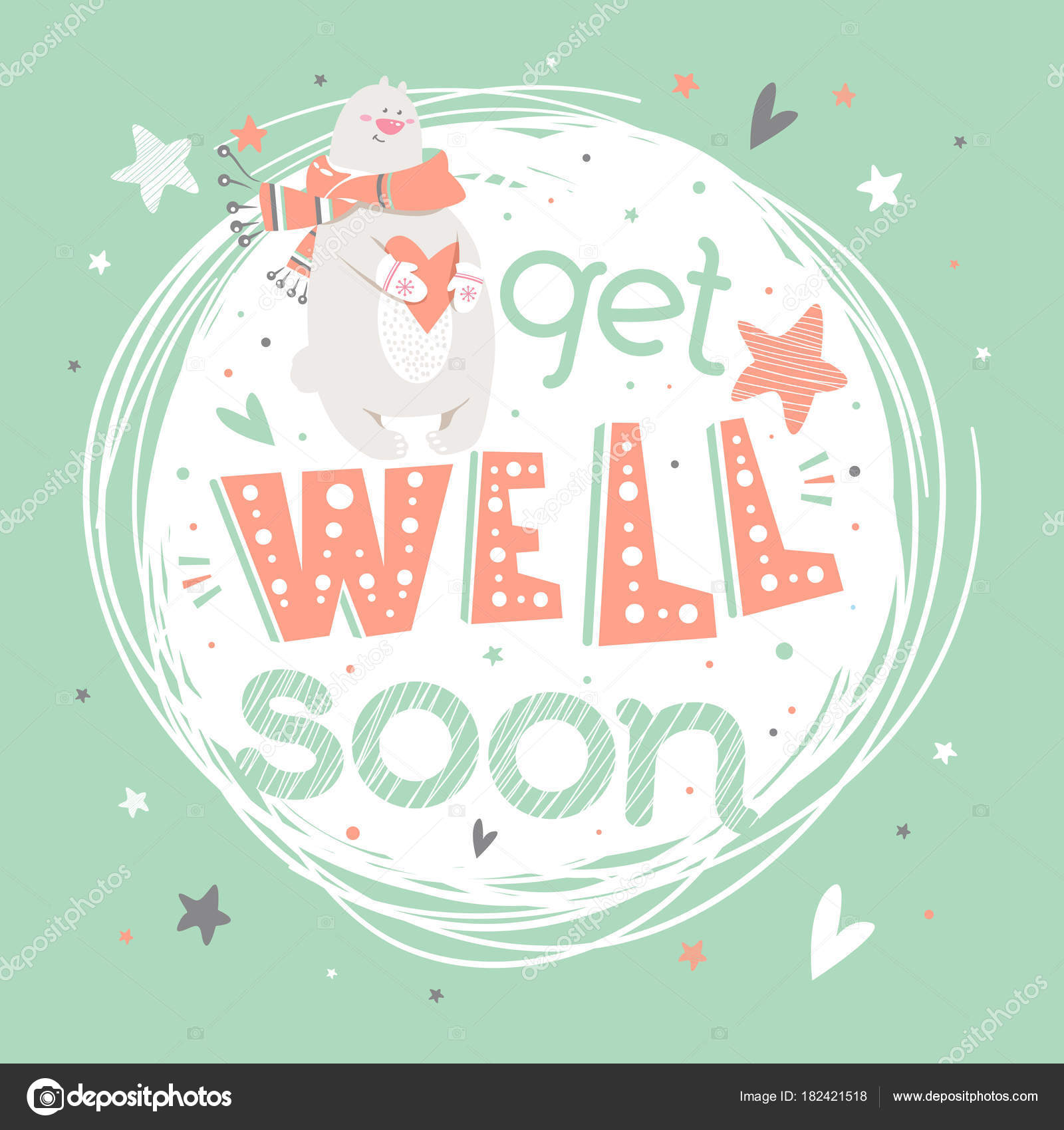 motivational poster hand drawn lettering get well soon cute art