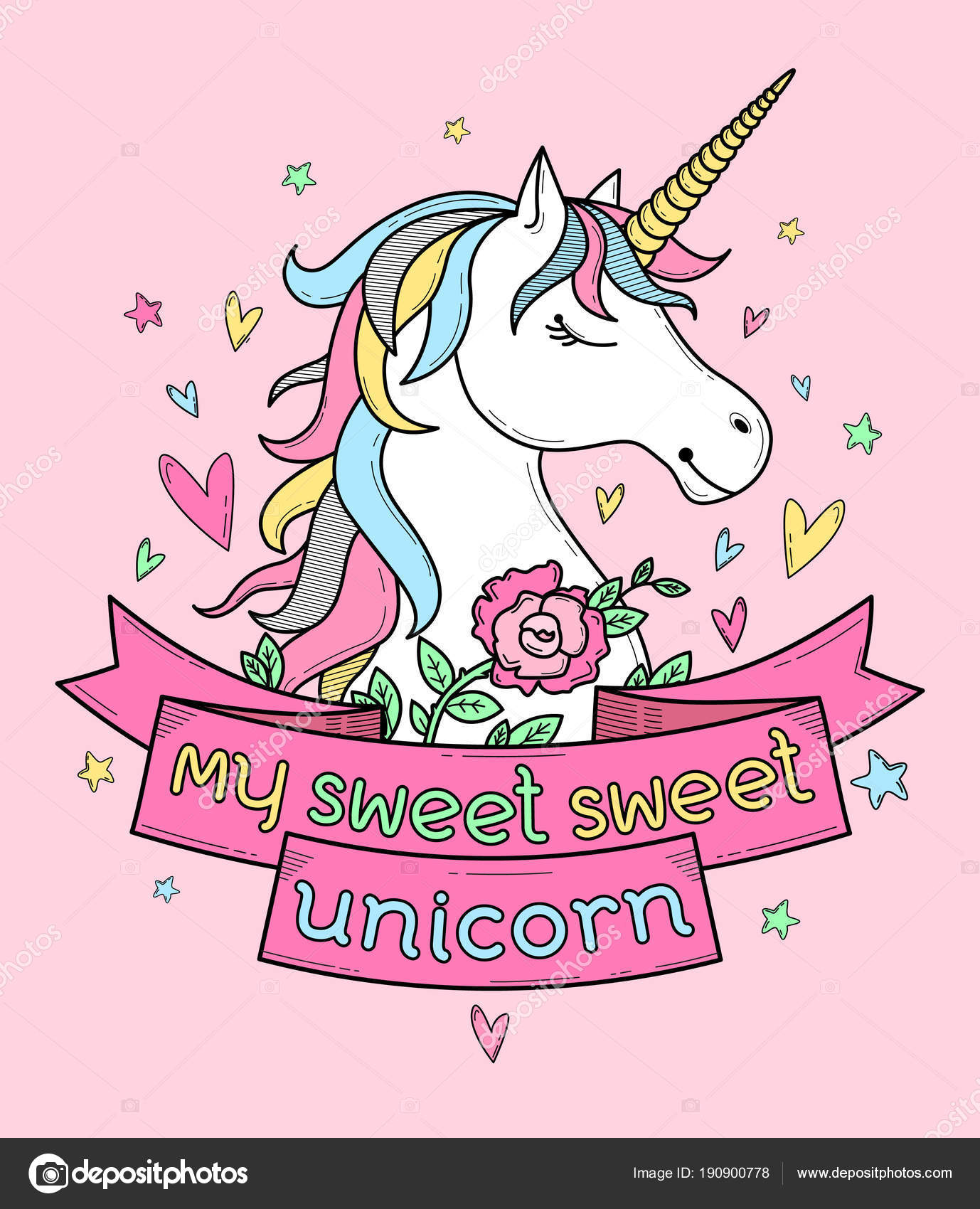 cute poster label greeting card apparel print unicorn flowers hearts