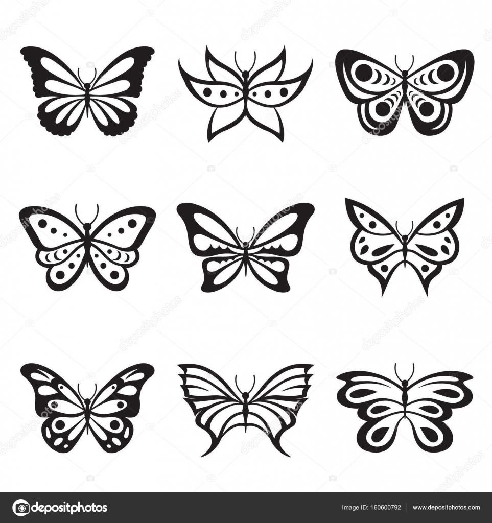 Negro Animal insecto mariposa tatuaje y siluetas Vector icono ...