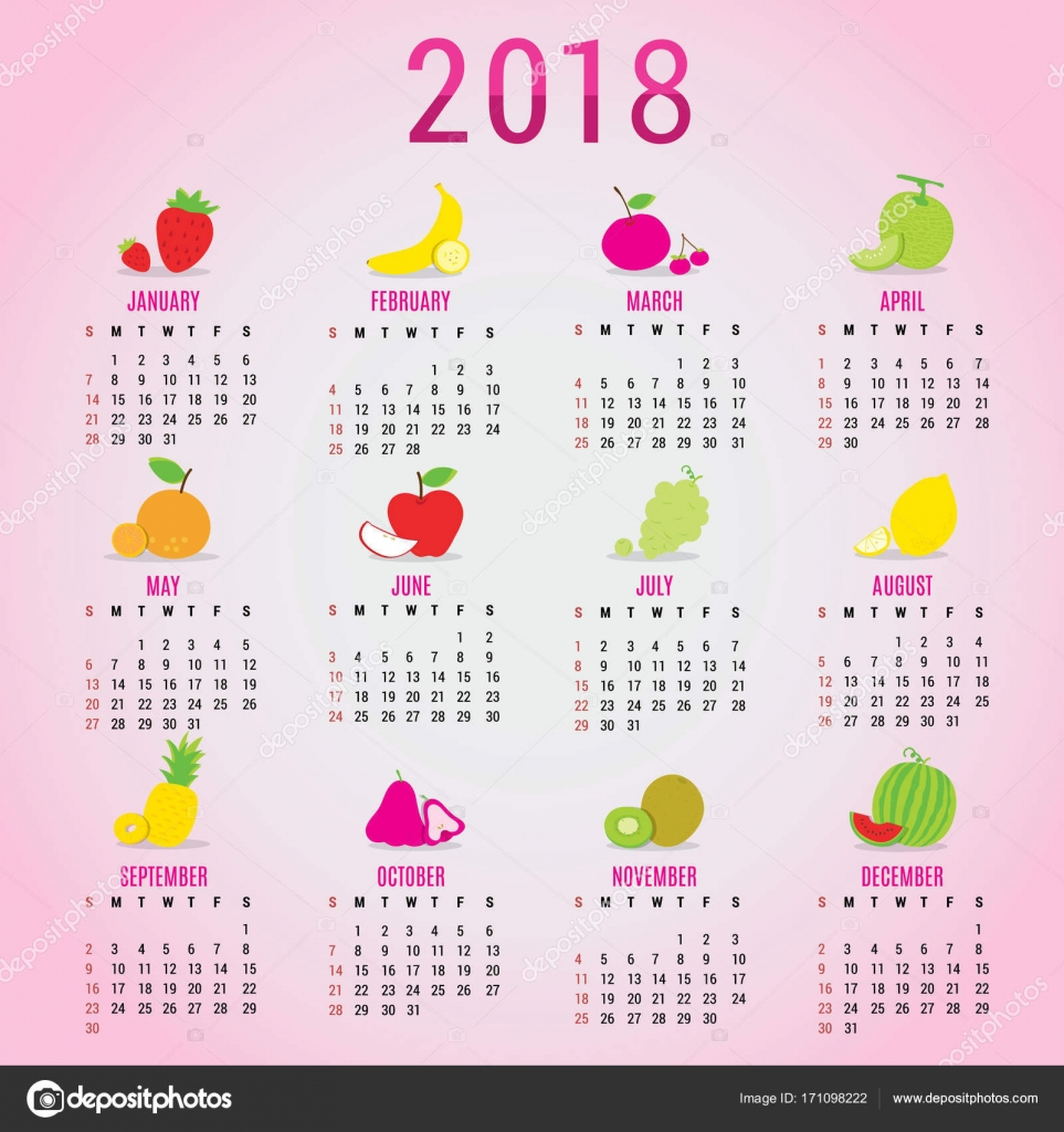planner calendar new year 2018 fruit cute cartoon vector stock vector