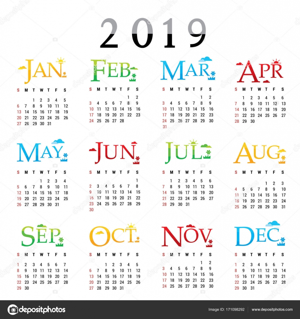 Calendar planner happy new year 2019 greeting card text typography calendar planner happy new year 2019 greeting card text typography design vector stock vector kristyandbryce Images