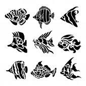 Fotografia Pesce animale acquatico Black Silhouette illustrazione vettoriale