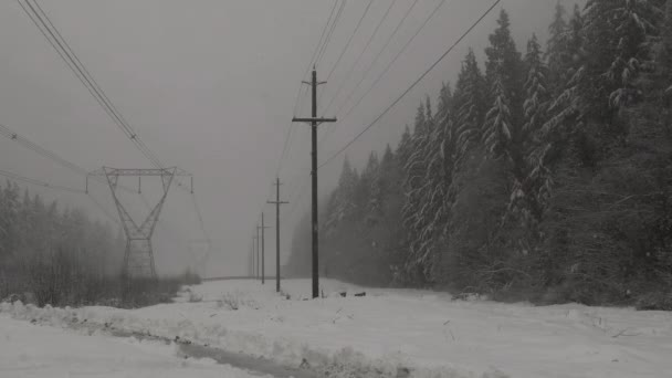 Heavy snow falling with electricity power grid background