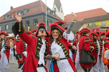Donzdorf, Germany- March 03, 2019: traditional festive carnival procession