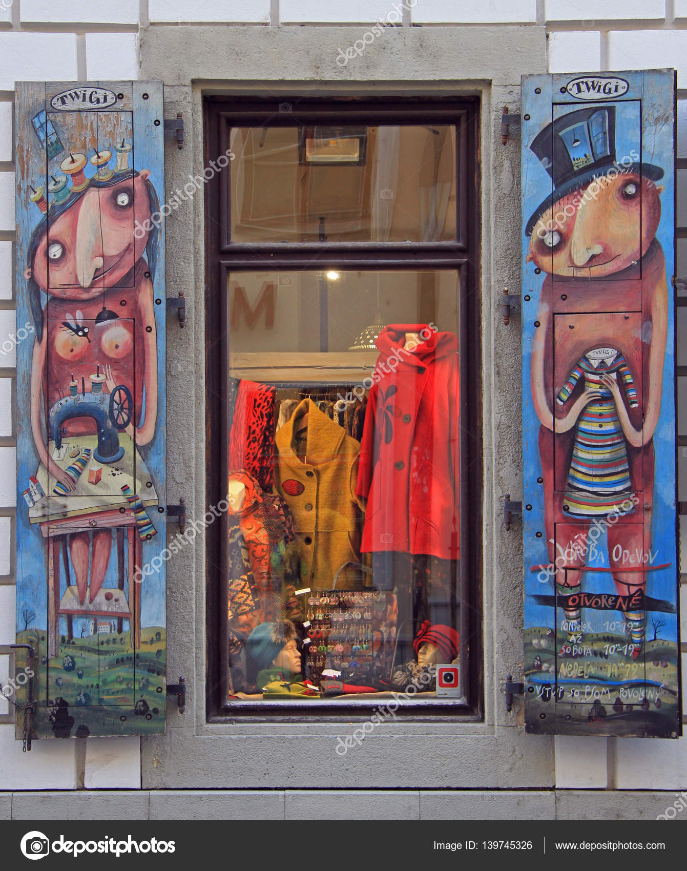 Hand-made art painted shutters window in Old Town of Bratislava