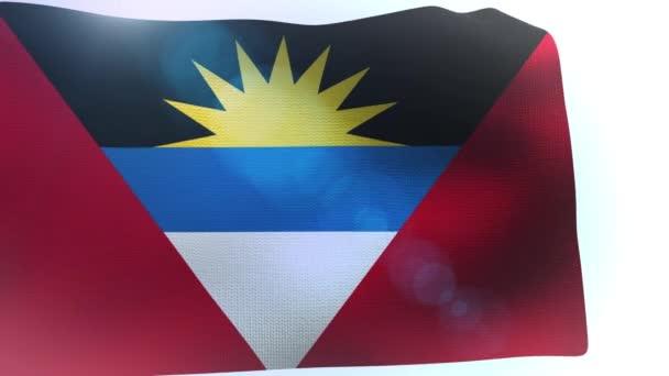 Antigua and Barbuda flag waving on white background