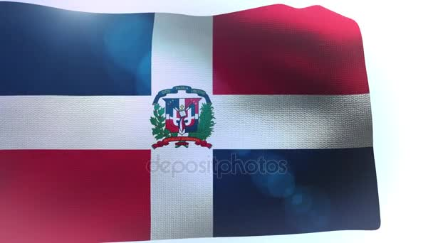 Waving colorful Dominican Republic flag blowing in the wind