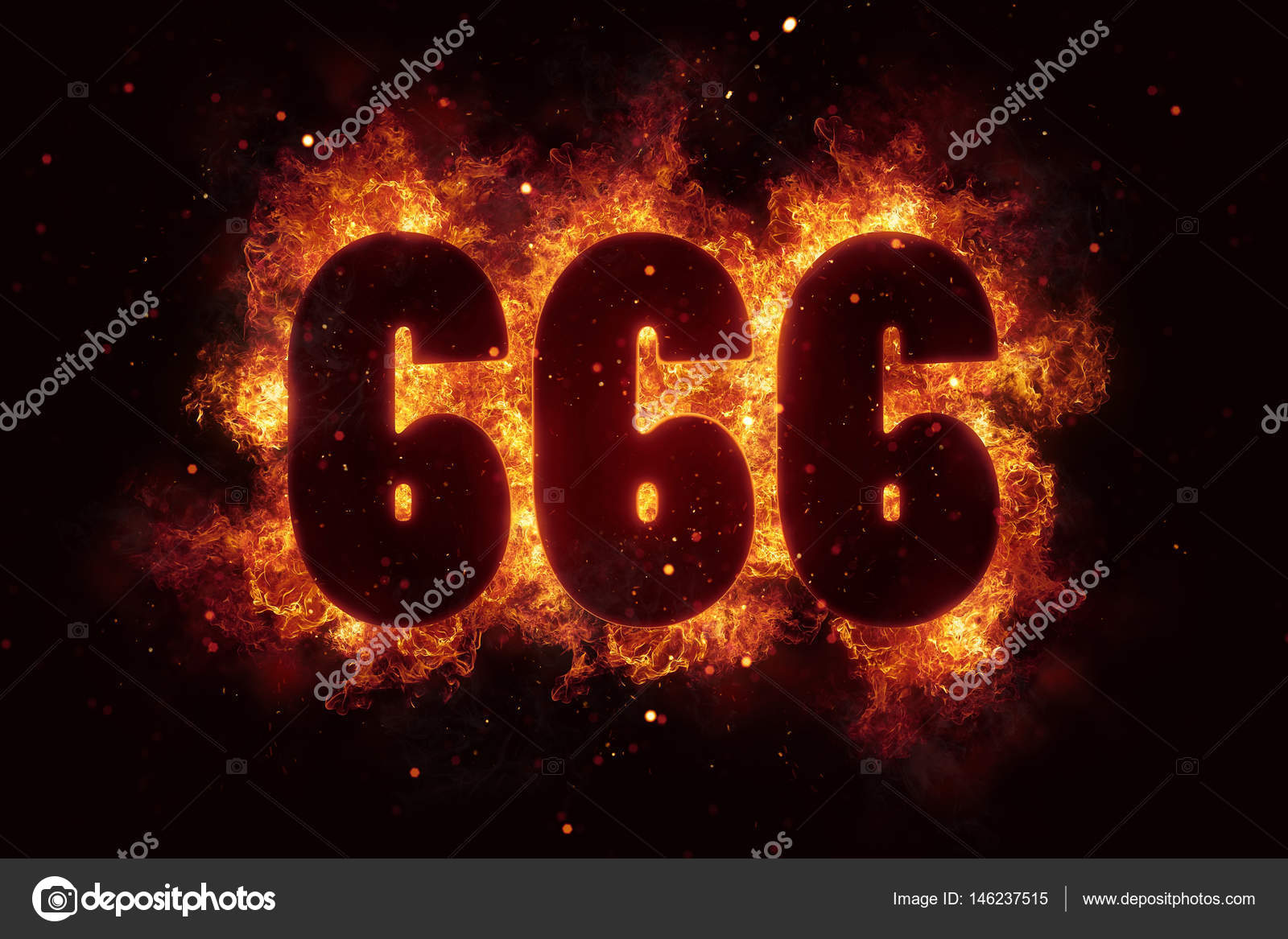 666 Fire Satanic sign gothic style evil esoteric occultism — Photo by  artefacti