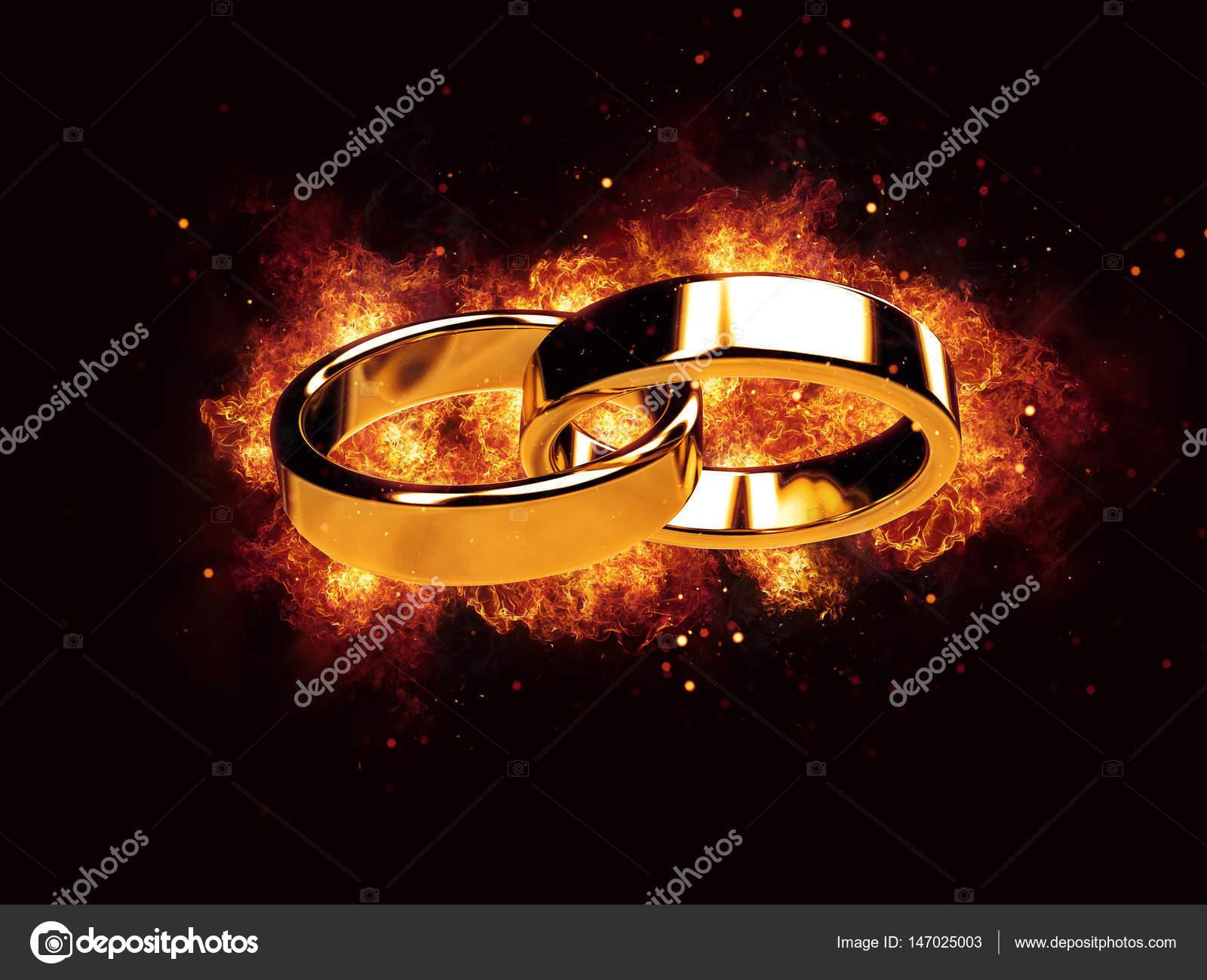 Ehe Ehe heiraten Ring Ringe Ehering Feuer Flammen brennen heiß ...