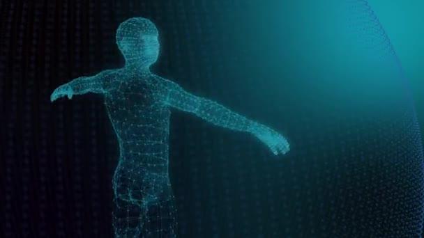 3D model člověka geometrického modelu světelné čáry modré