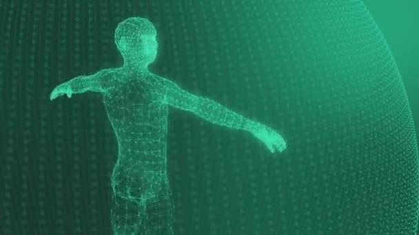 3D model člověka geometrického modelu světelné čáry zelené