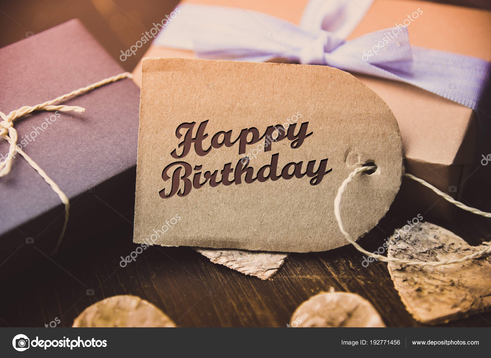 Happy Birthday Present Gift Hipster Vintage Man Stock Photo