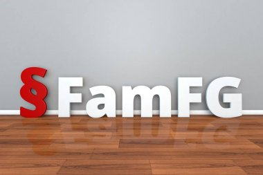 German Law FamFG abbreviation for Law on the procedure in family matters and in matters of voluntary jurisdiction 3d illustration