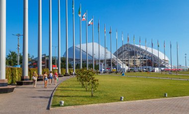 The Olympic cauldron in the background of the stadium fischt . The winter Olympic games in Sochi 2014