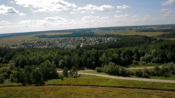 Aerial view country road field russia