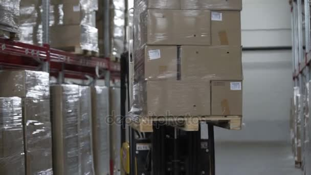Targonca teherautó betölteni raklapok modern raktár karton dobozok