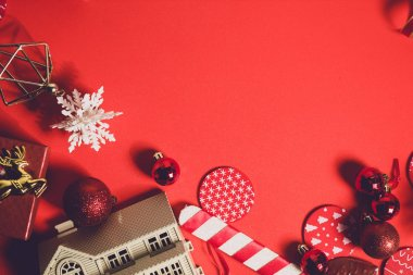 celebration happy new year and merry christmas season greeting holiday festival with red prop decoration gift on vintage background