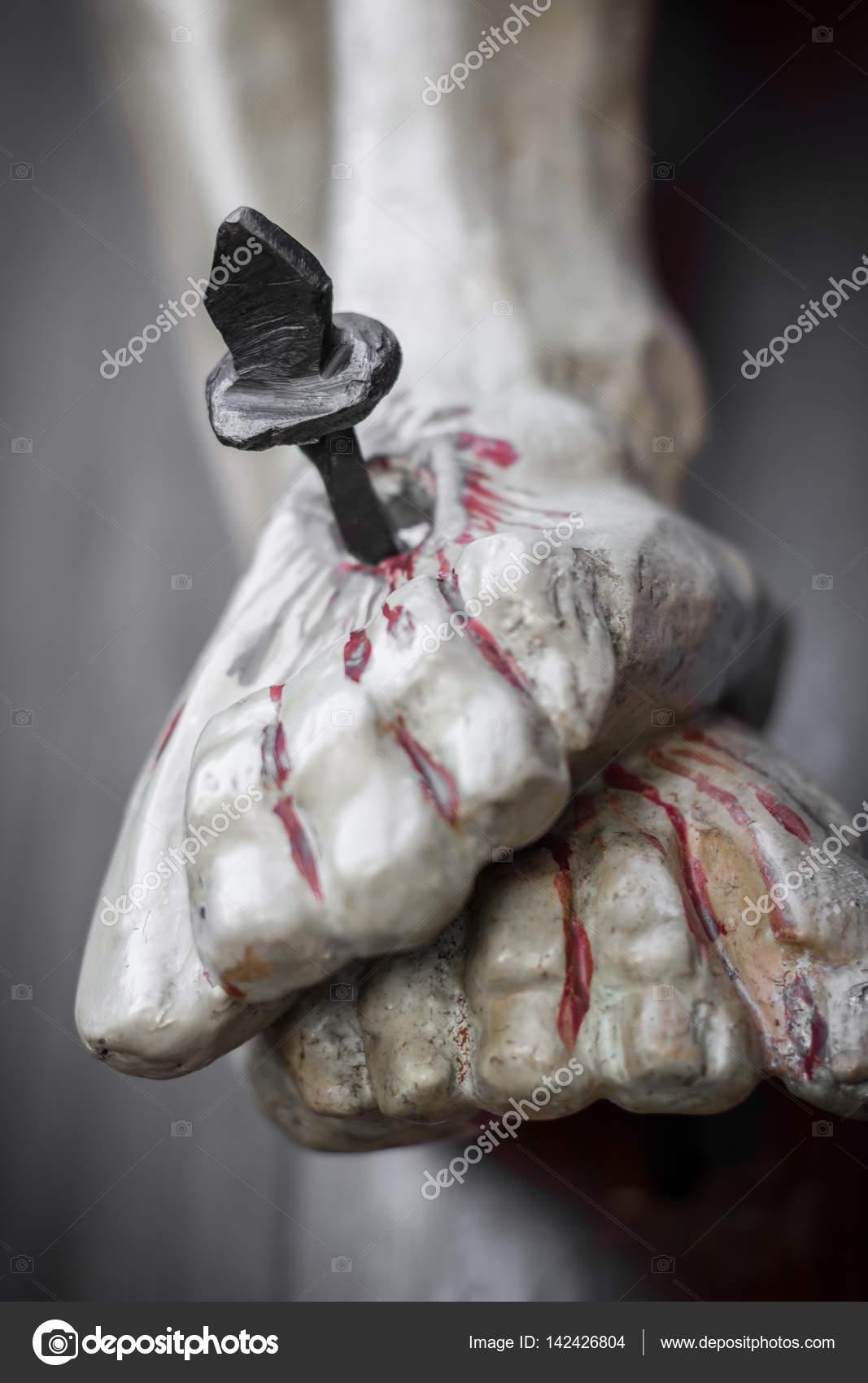 Nailed and bleeding feet of Jesus — Stock Photo © germanopoli #142426804