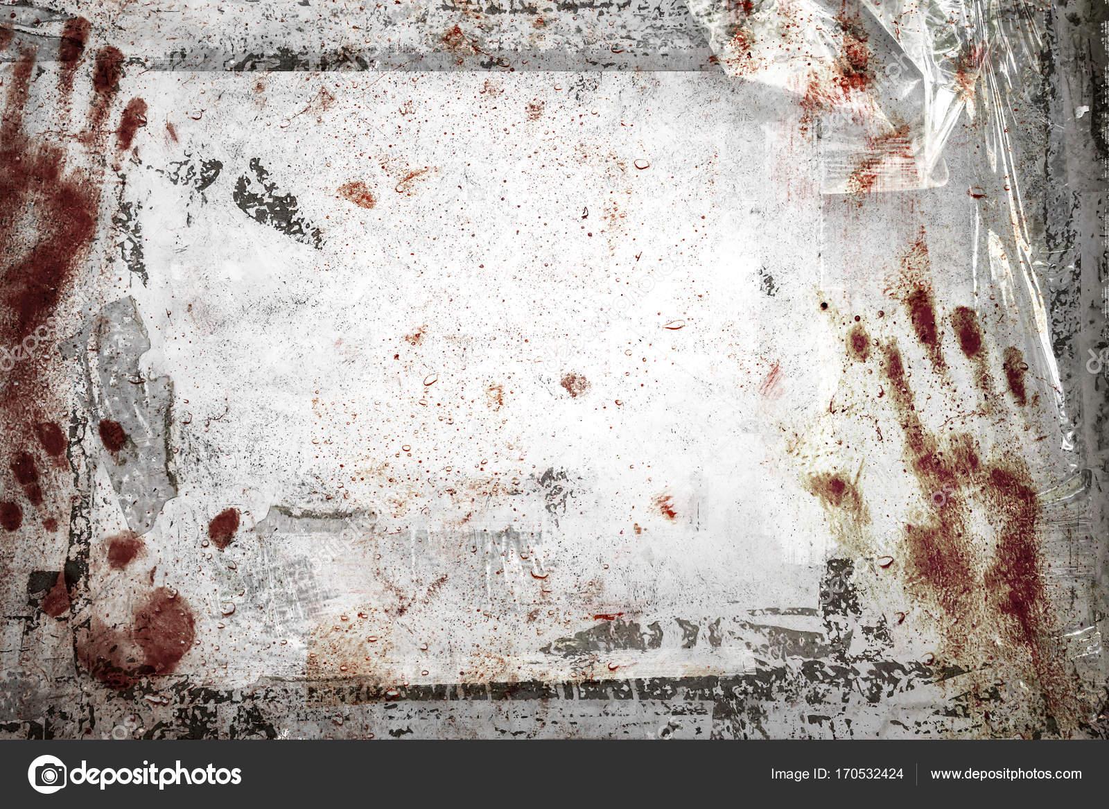Fondo de horror con marco Grunge, huellas de sangre, restos de cinta ...