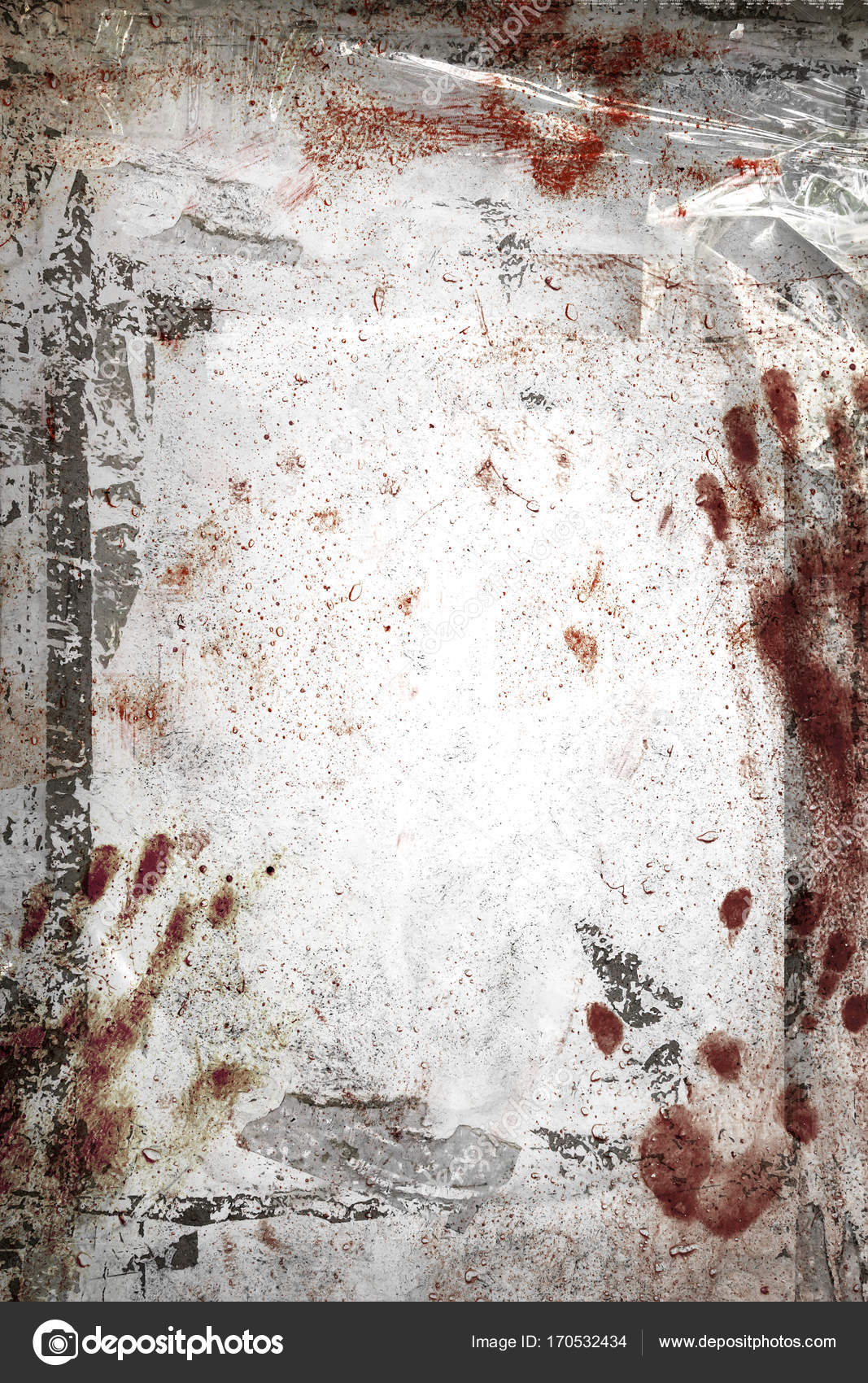horror background with grungy frame bloody handprints