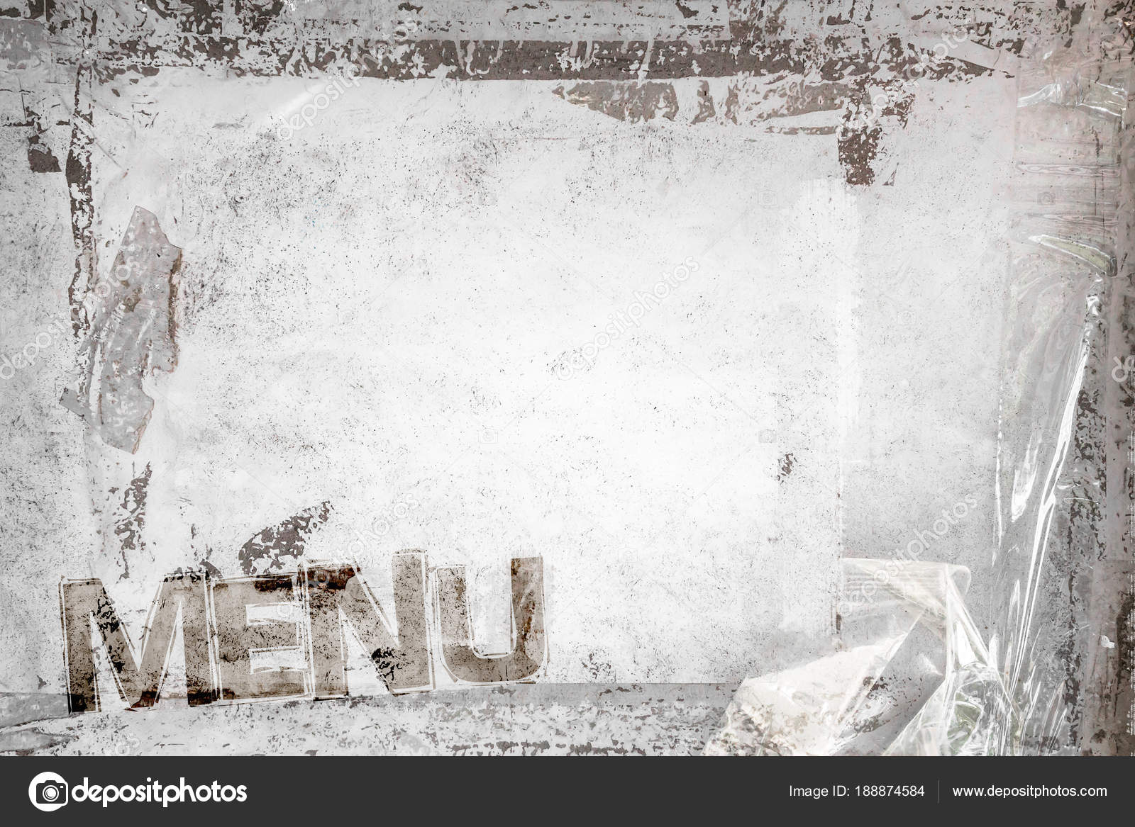 Menu With Grungy Frame And Remains Of Scotch Tape Cellophane Background Fully Editable It Can Be Used As A Food Poster Wallpaper