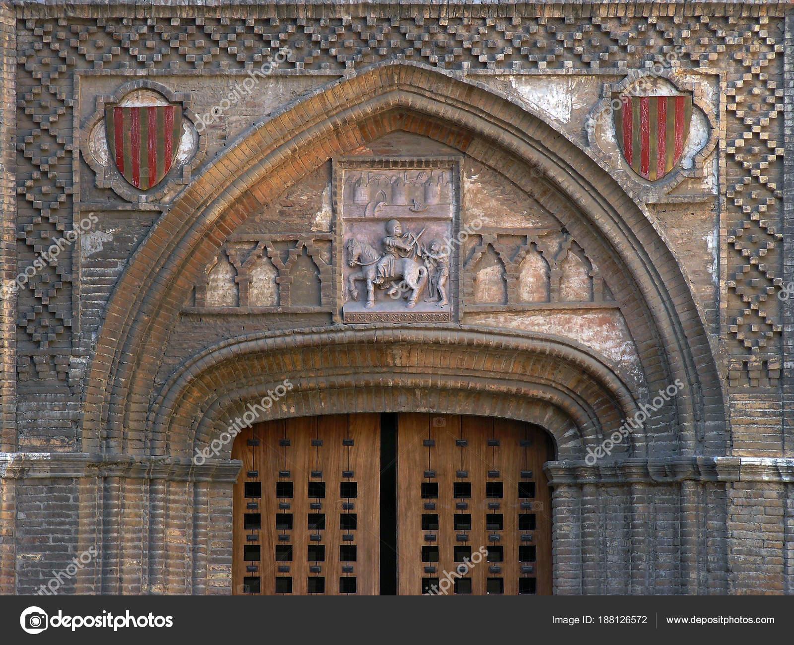 Zaragoza Spain Pointed Arch Aljaferia Palace City Zaragoza