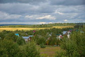 Photo Panorama of Klin-Dmitrovsky ridge with villages, Sergiev Posad district, Moscow region, Russia