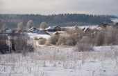 Photo Panorama of Klin-Dmitrovsky ridge with villages in winter, Sergiev Posad district, Moscow region, Russia