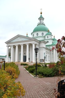 Demetrius Cathedral of Spaso-Yakovlevsky Monastery, Monastery of St. Jacob Saviour, situated to the left from  Rostov kremlin, it was founded in 1389 century. Yaroslavl Region, Russia