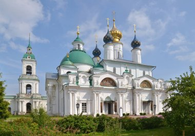 Conception Cathedral of Spaso-Yakovlevsky Monastery, Monastery of St. Jacob Saviour  is situated to the left from Rostov kremlin. It was founded in 1389 century. Yaroslavl Region, Russia