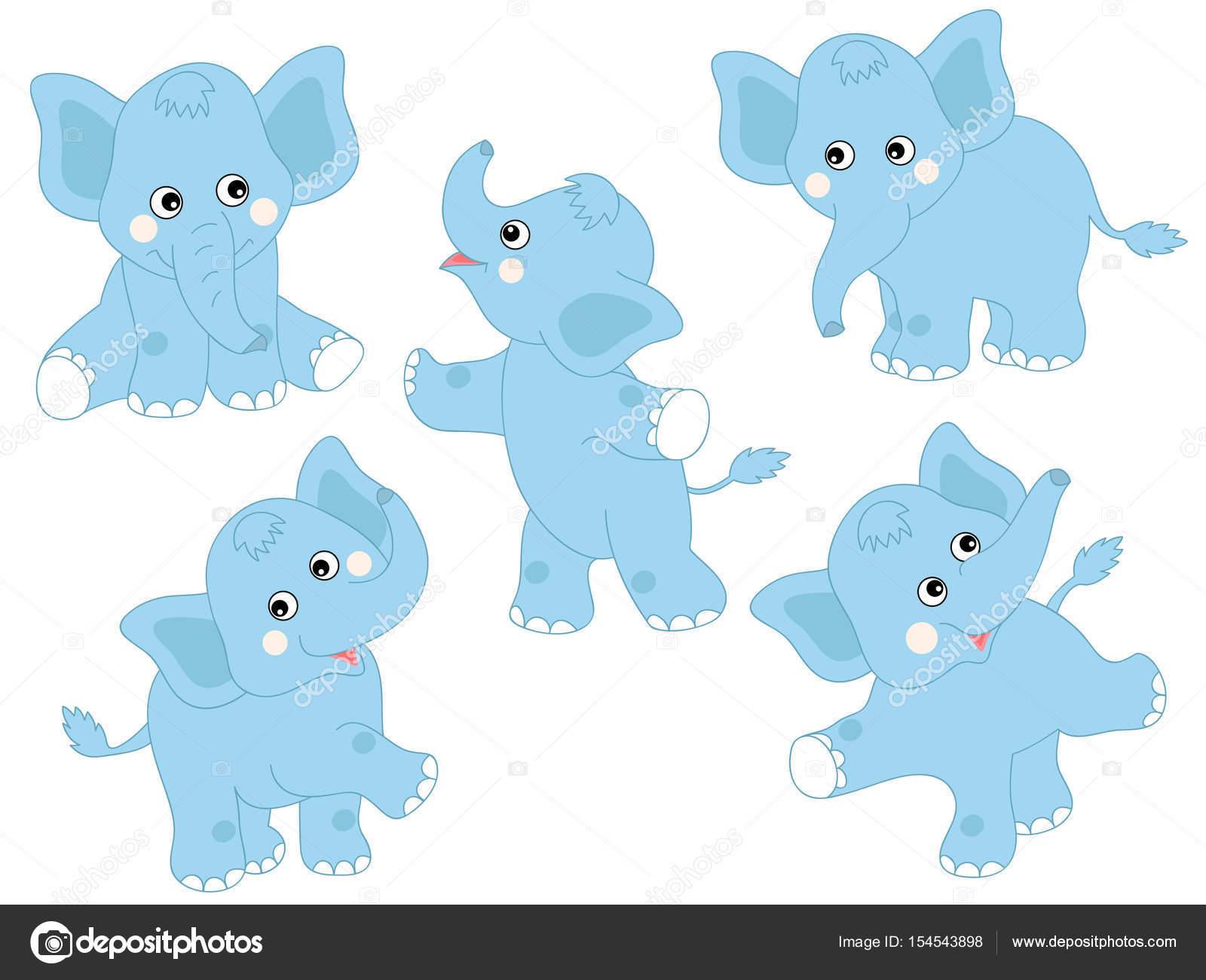 Vektor Blau Niedlichen Elefanten Set Elefant Clipart Stockvektor