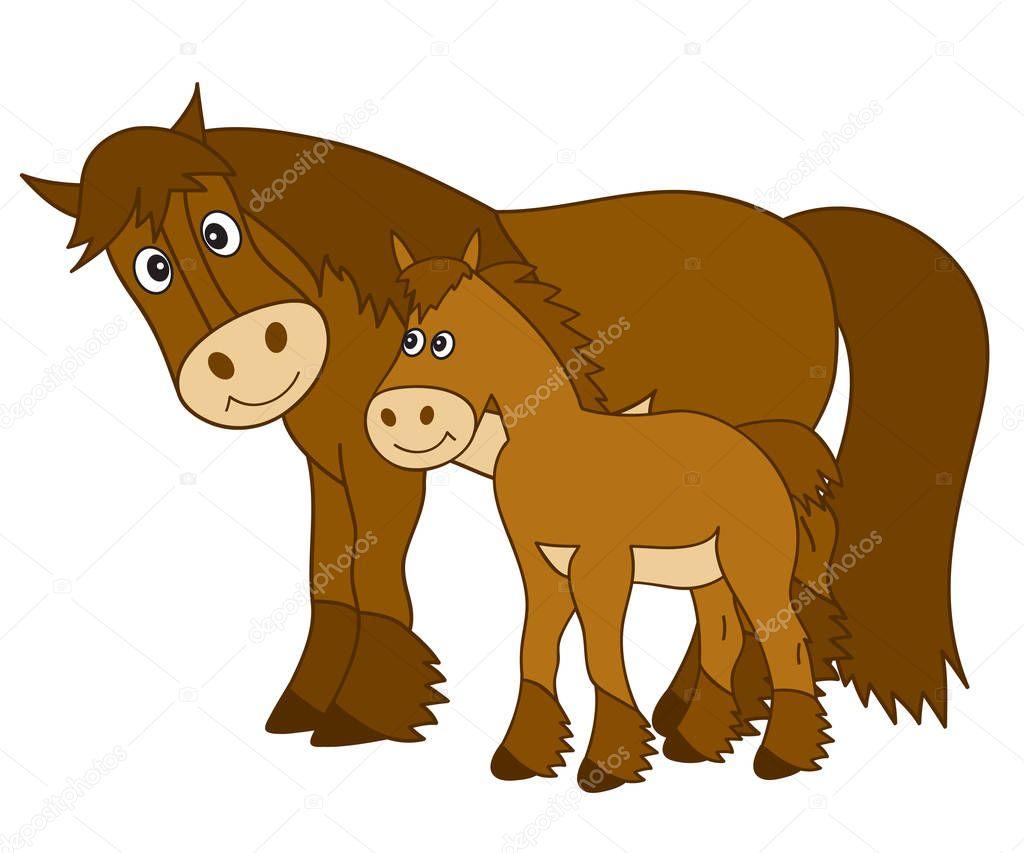 Vector cartoon cavallo con puledro cavallo clipart vettoriali stock marlenes9 154545868 - Clipart cheval ...