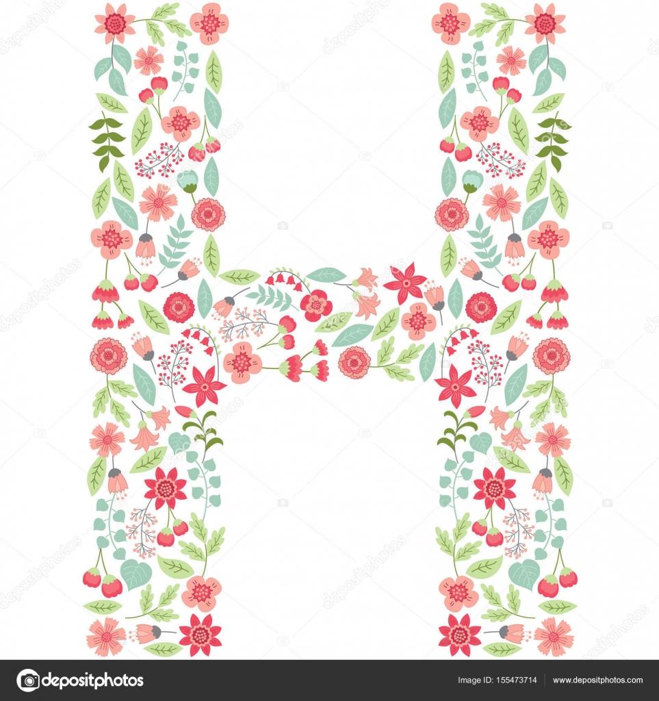 Vector floral letter H Vector floral abc English floral alphabet