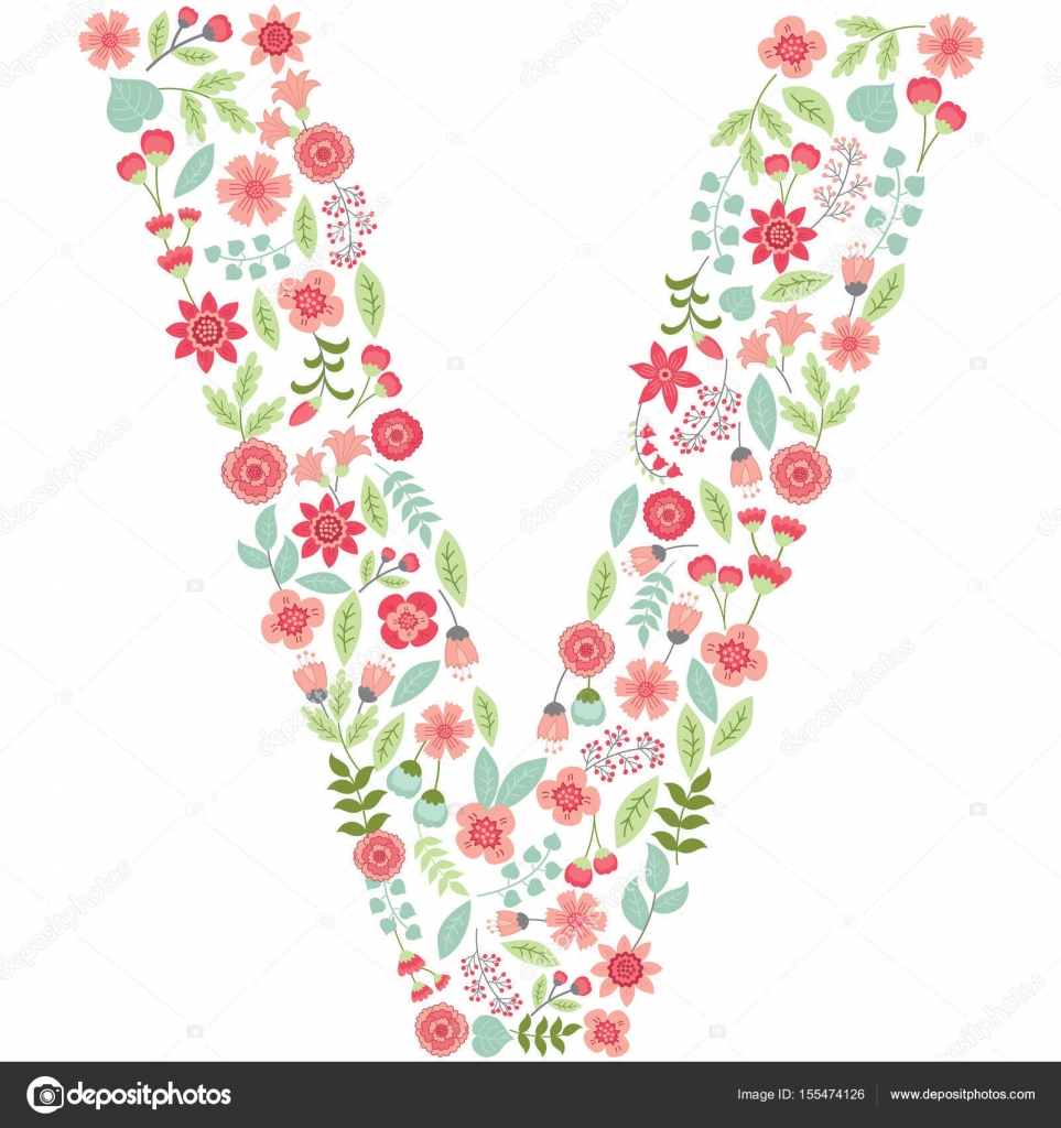 Vector floral letter v vector floral abc english floral alphabet vector floral letter v vector floral abc english floral alphabet font vector illustration altavistaventures Images