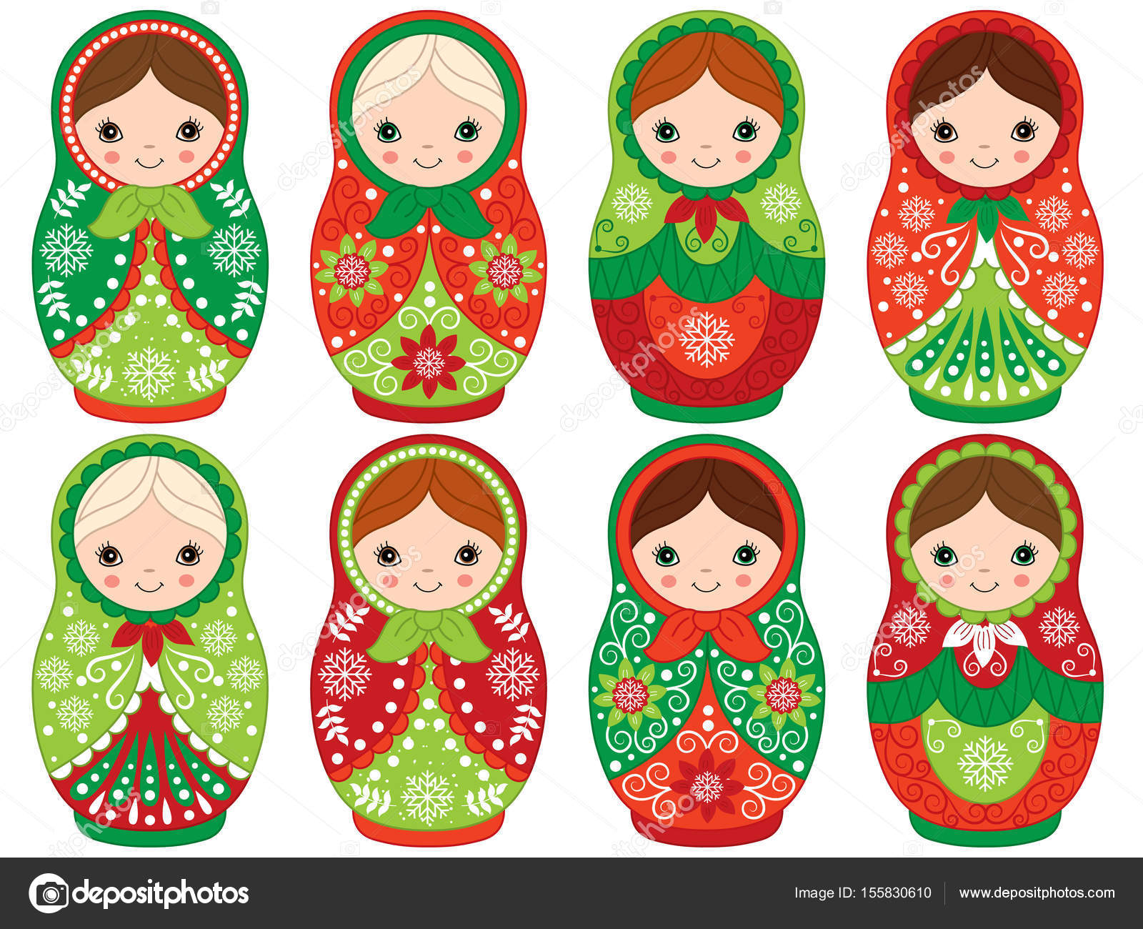 Vector Russian Traditional Matryoshka set. Vector Russian Nesting ...