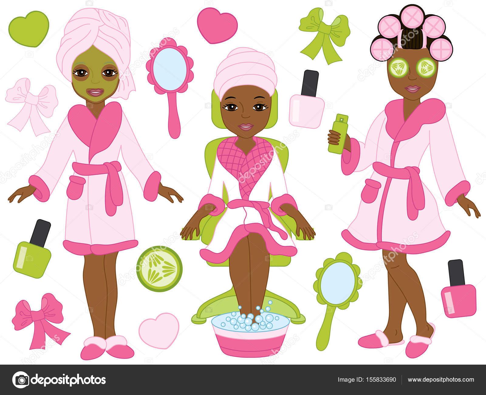 Wellness clipart  Vektor afroamerikanische Spa Mädchen gesetzt. Vektor-Spa. Spa ...