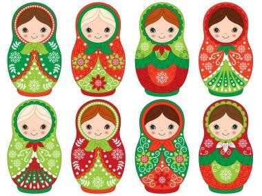 Vector Russian Traditional Matryoshka set. Vector Russian Nesting Dolls. Christmas Matreshka Clipart.