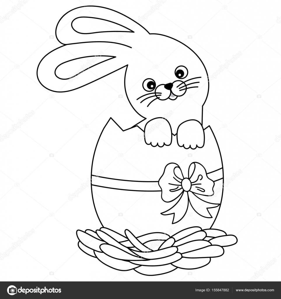 Vector blanco y negro de dibujos animados lindo conejito dentro de ...