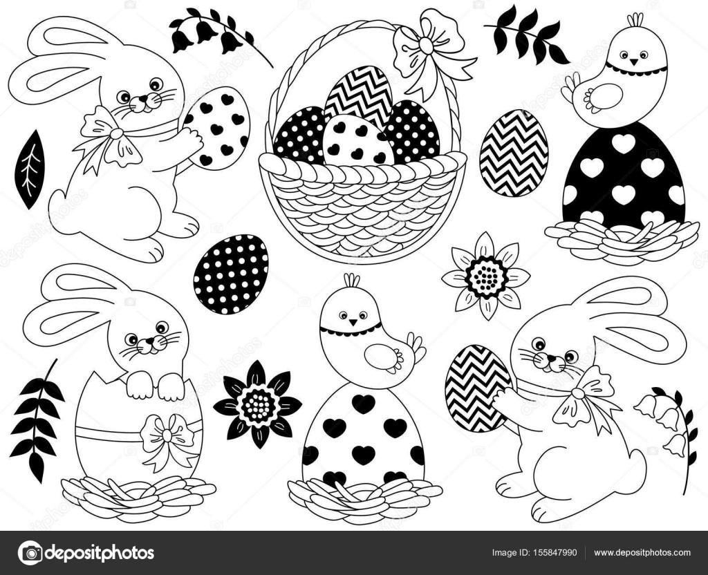 Vector blanco y negro conjunto de Pascua con conejo, pollos, huevos ...