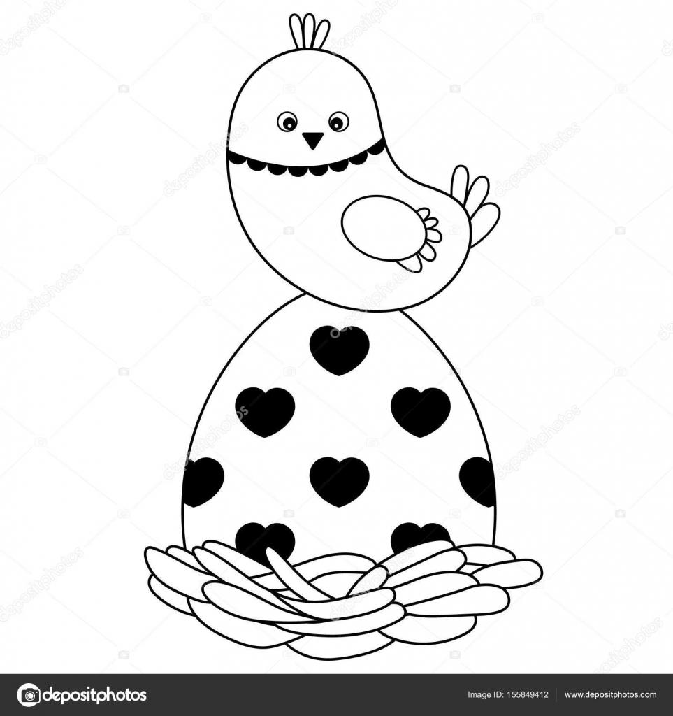 Vector negro y blanco lindo dibujos animados Pascua polluelo en el ...