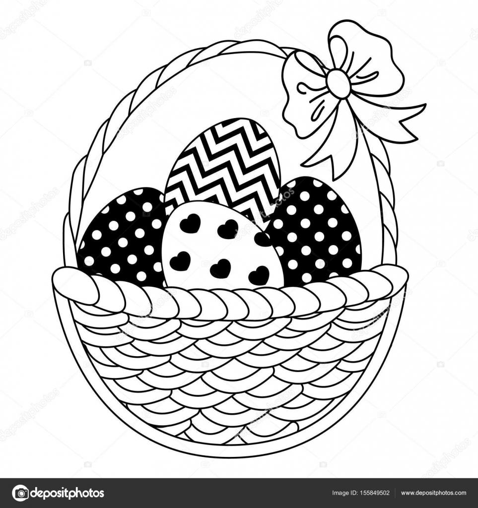 Cesta de mimbre de blanco y negro vector con huevos de Pascua ...