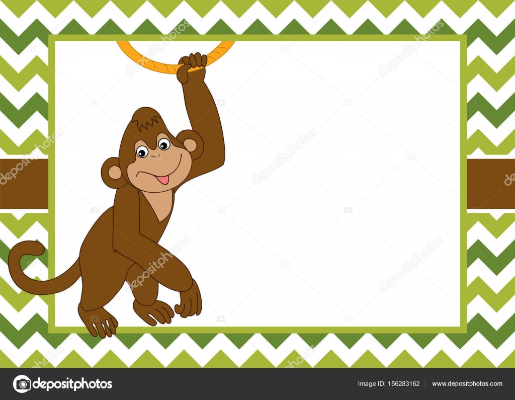 vector card template with a cute monkey on chevron background