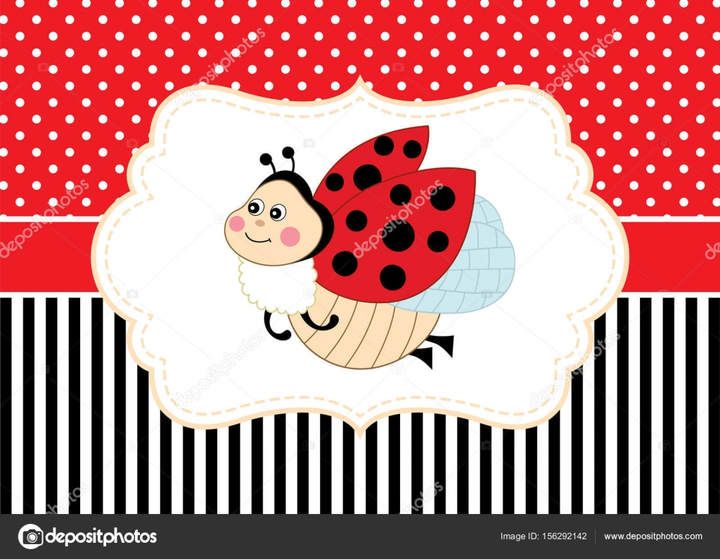Vector card template with a cute ladybug on polka dot and stripes vector card template with a cute ladybug on polka dot and stripes background invitation card template for baby shower birthday and parties with space for stopboris Image collections