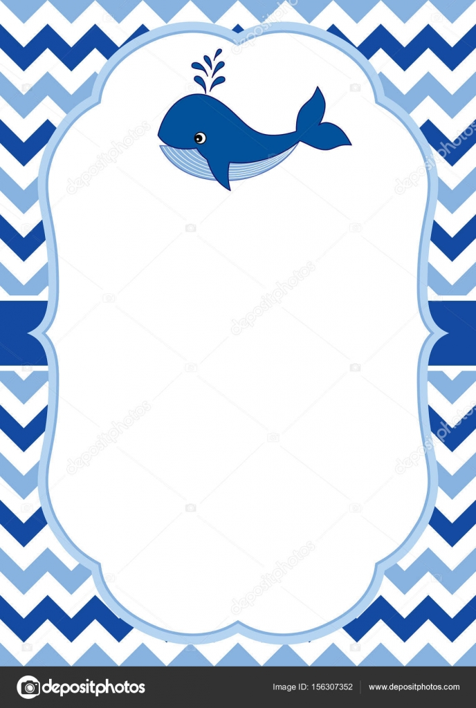 vector card template with a cute whale on chevron background vector